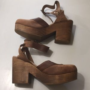 Free People Embossed Leather & Suede Strap Sandals